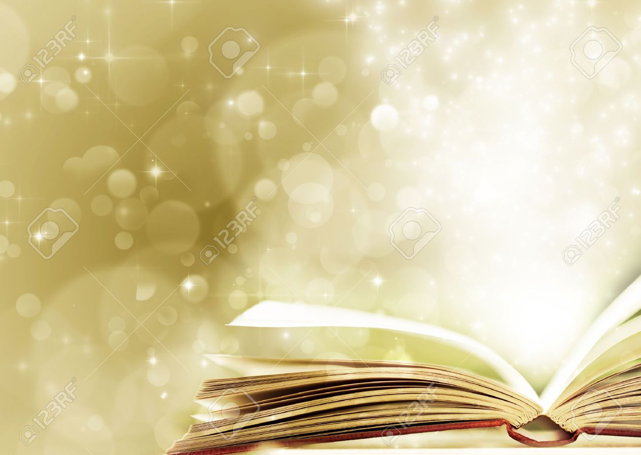 christmas fairy tale christmas background with magic book stock photo 34754759