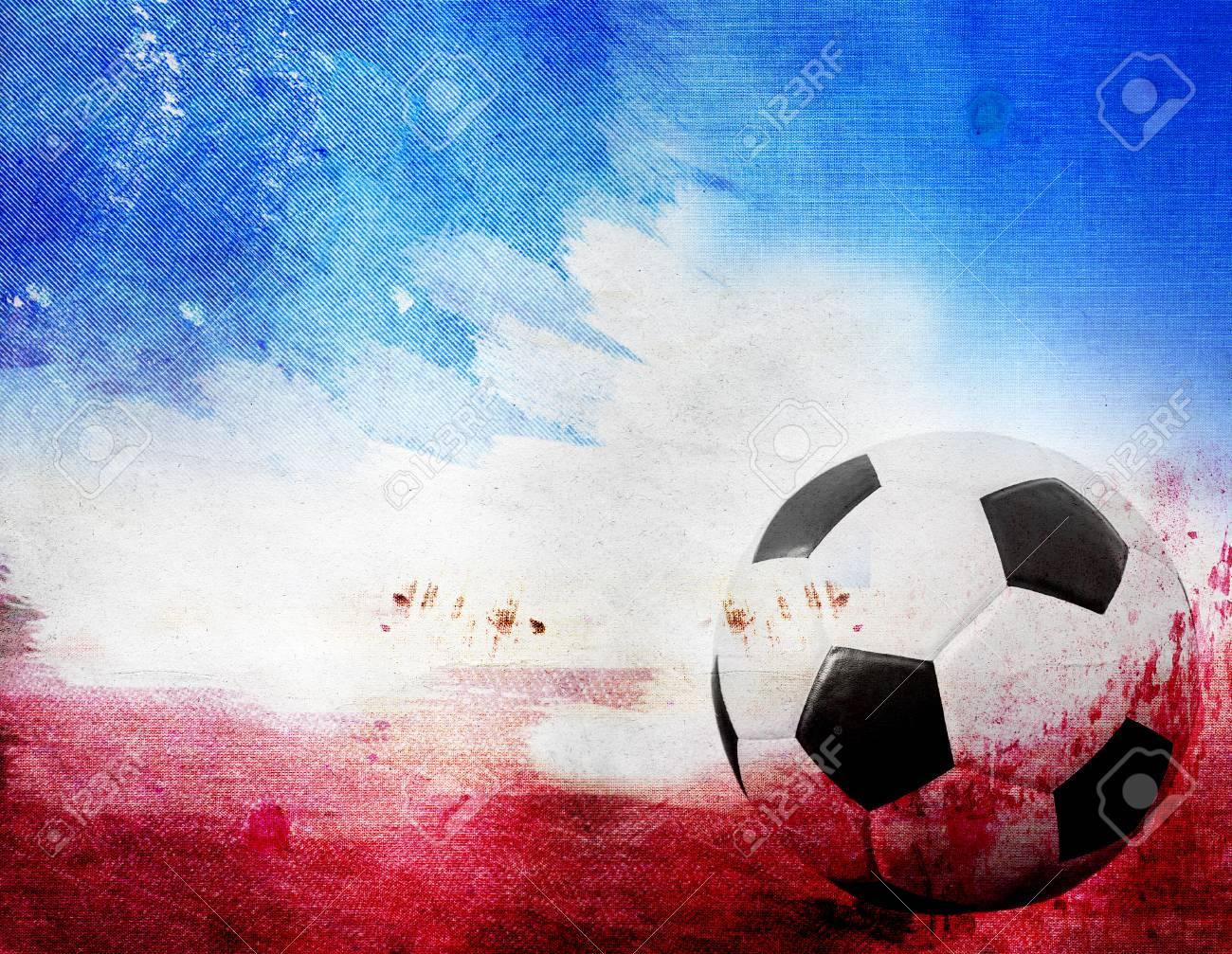 Balón De Fútbol Sobre Fondo Rojo 36d84df85cfbc