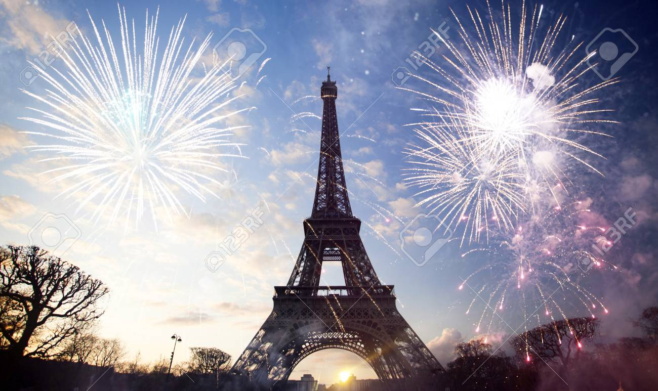 abstract background of eiffel tower with fireworks, paris, france