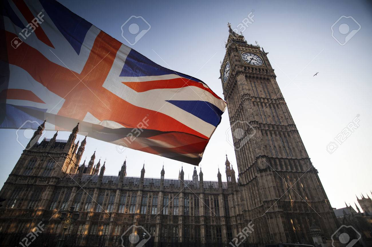 British union jack flag and Big Ben Clock Tower and Parliament house at city of Westminster in the background - 80680322