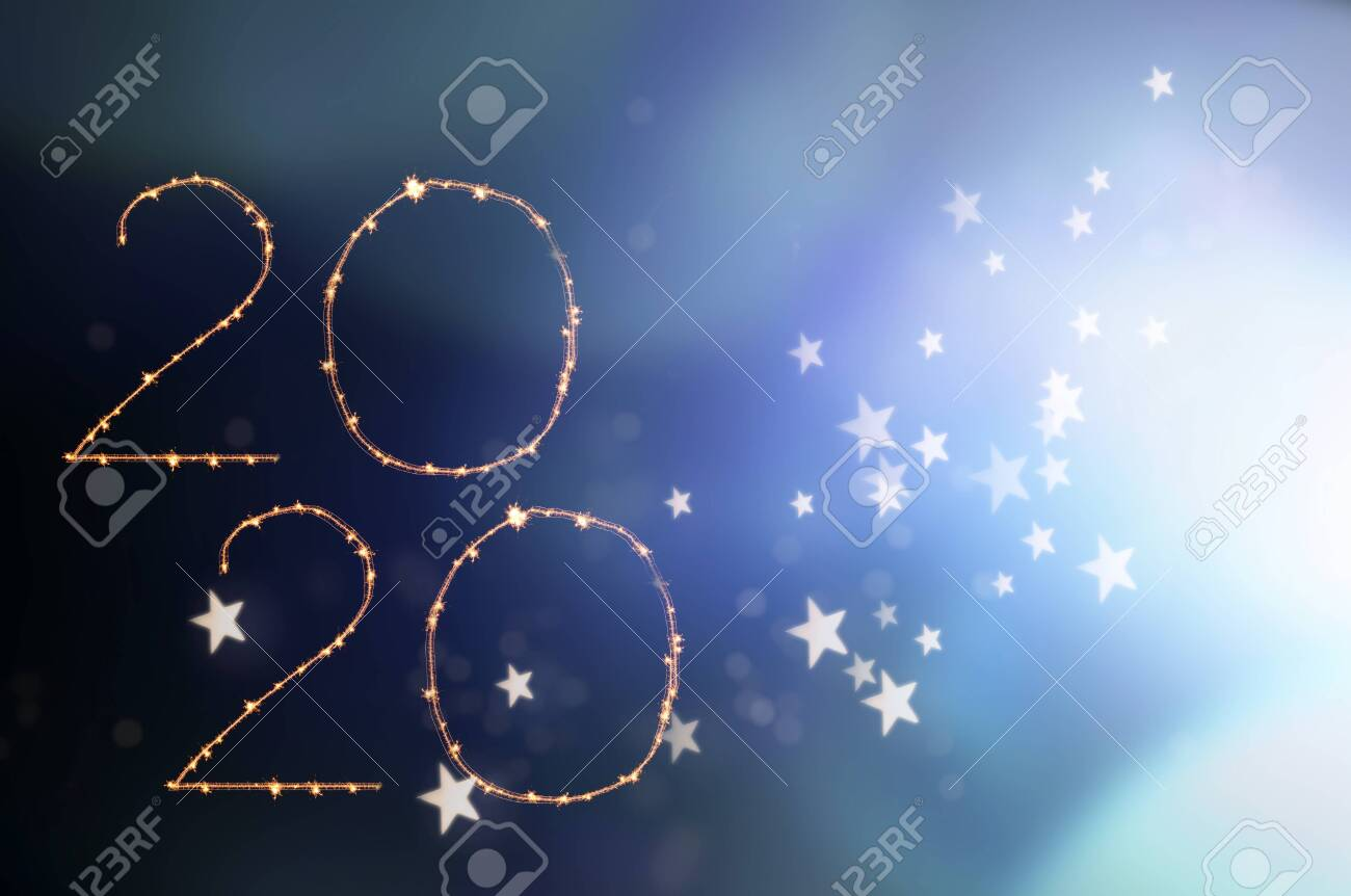 New Year 2020 celebration. Magic holiday background with fireworks. Number 2020 written sparkling sparklers. - 136642851