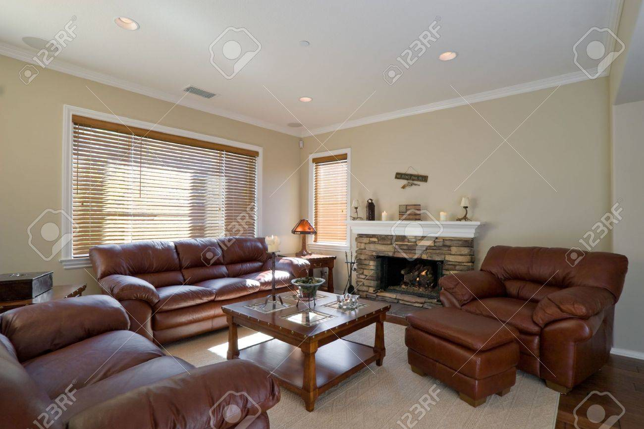 Well Appointed Showcase Living Room With Interior Decoration Stock Photo    2658576