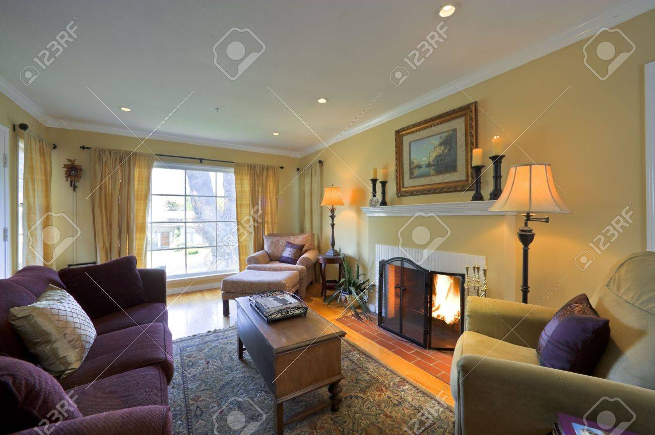 Stock Photo Well Appointed Showcase Living Room With Interior Decoration