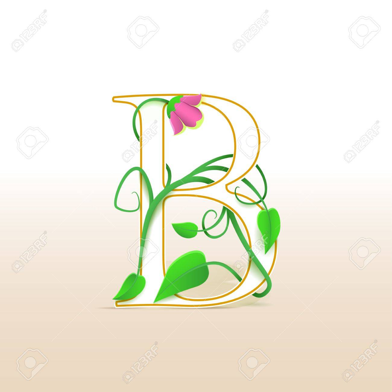 Letter B with an vintage abstract floral pattern, isolated Stock Vector - 15077963