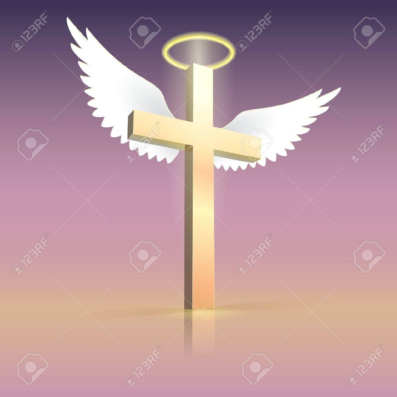angel wings nimbus and cross christian cross with spiritual