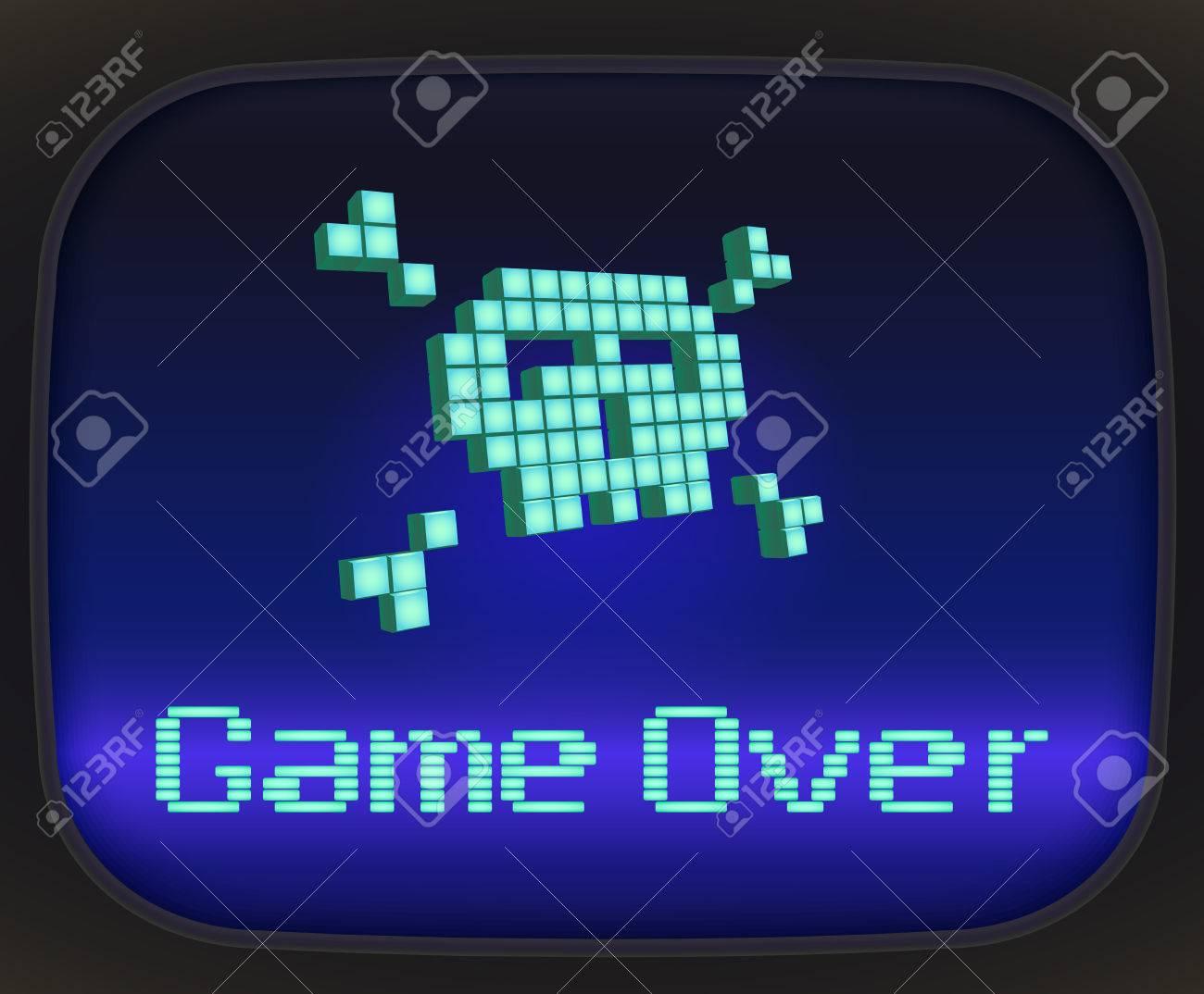 Game Over Jeu De Tv Crâne Et Os Croisés Faits De Pixel
