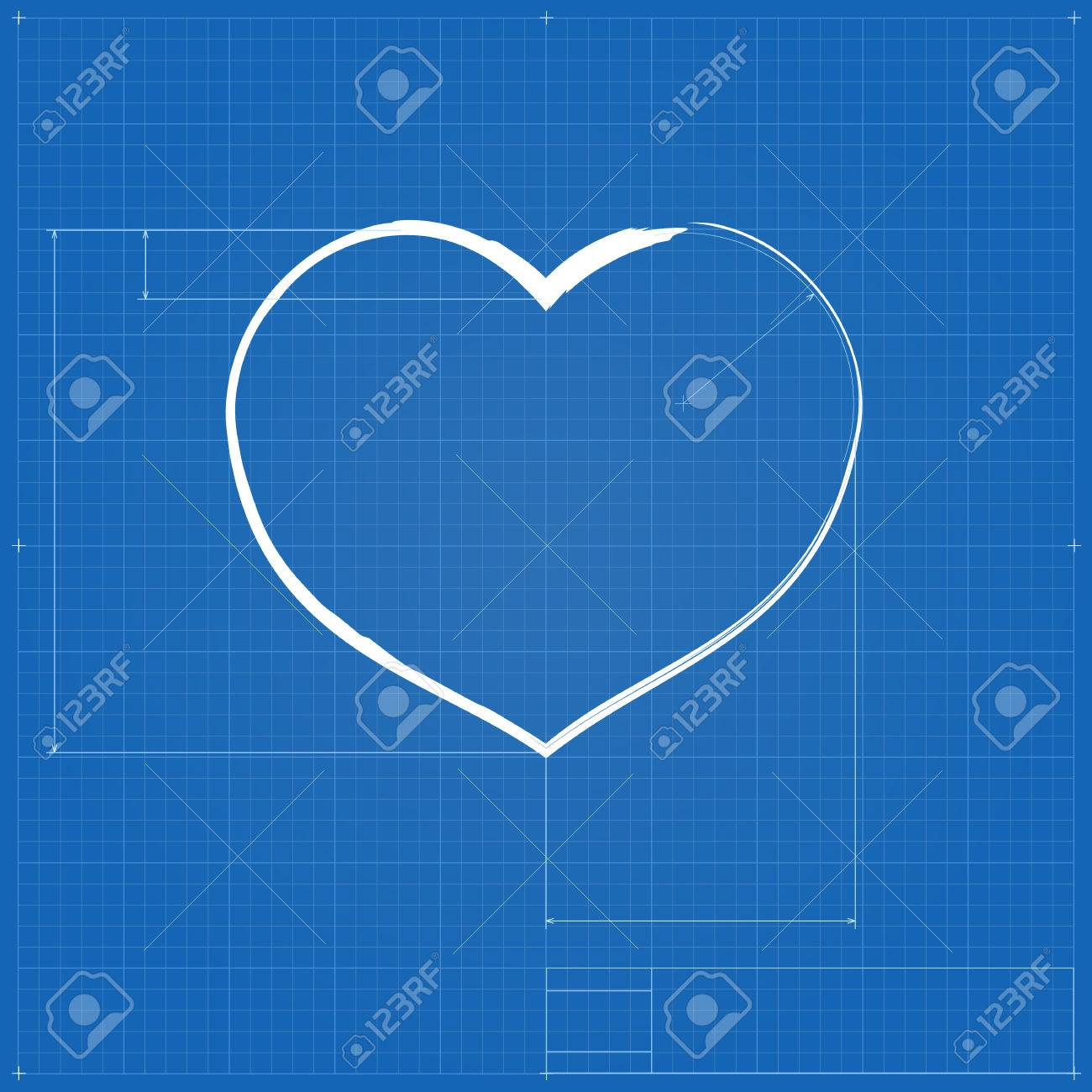Heart symbol like blueprint drawing stylized drafting of gift heart symbol like blueprint drawing stylized drafting of gift sign on blueprint paper vector malvernweather Gallery