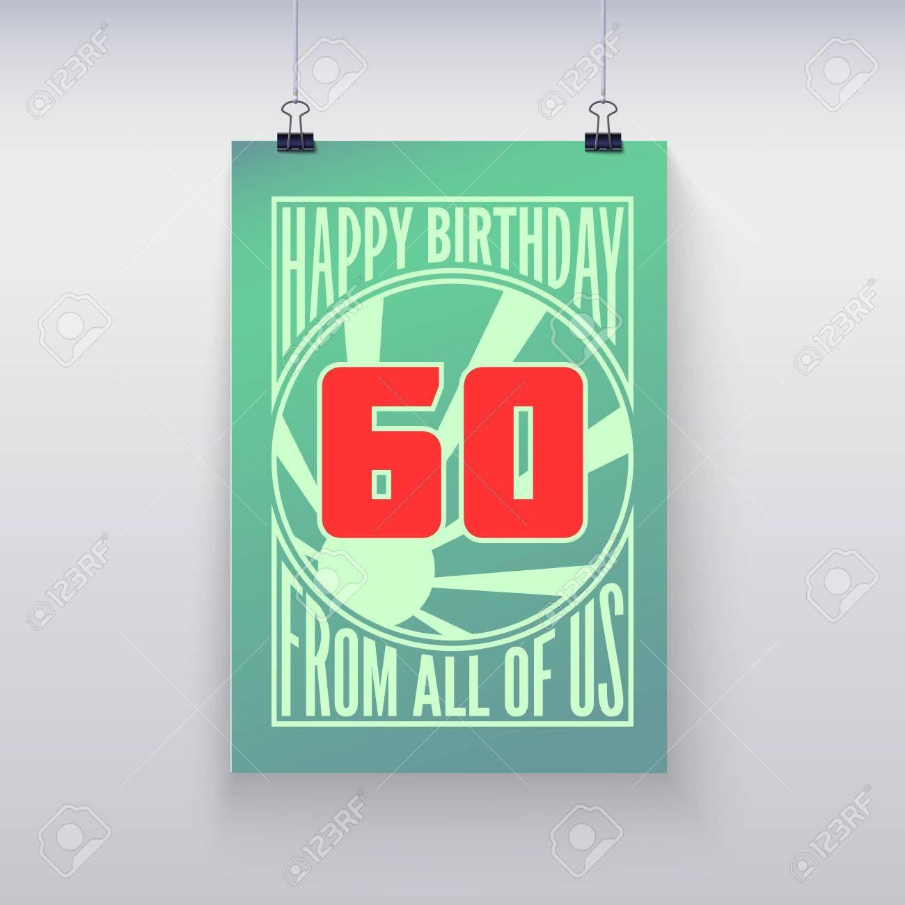 Vintage Poster Retrò Auguri Di Compleanno 60 Anni Vector Banner