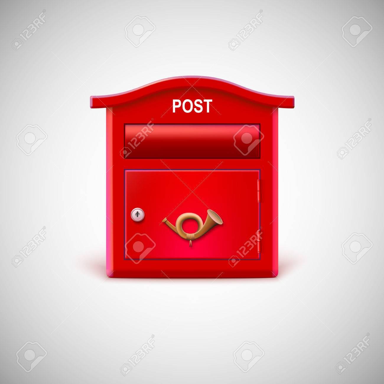 Boite Aux Lettres Rouge Avec Le Cor Postal Clip Art Libres De Droits