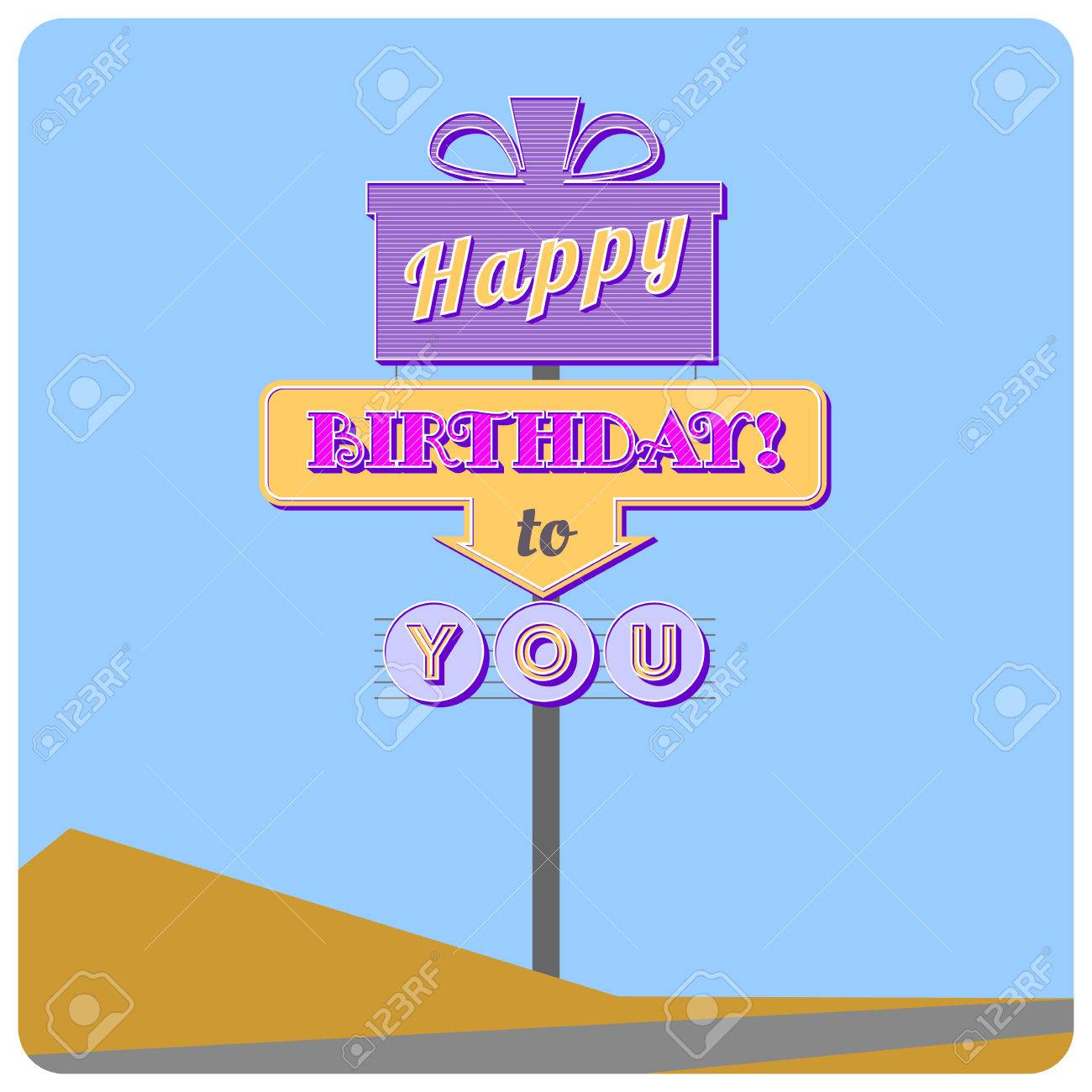 Happy Birthday Road Sign Greeting Card In The Style Of The American