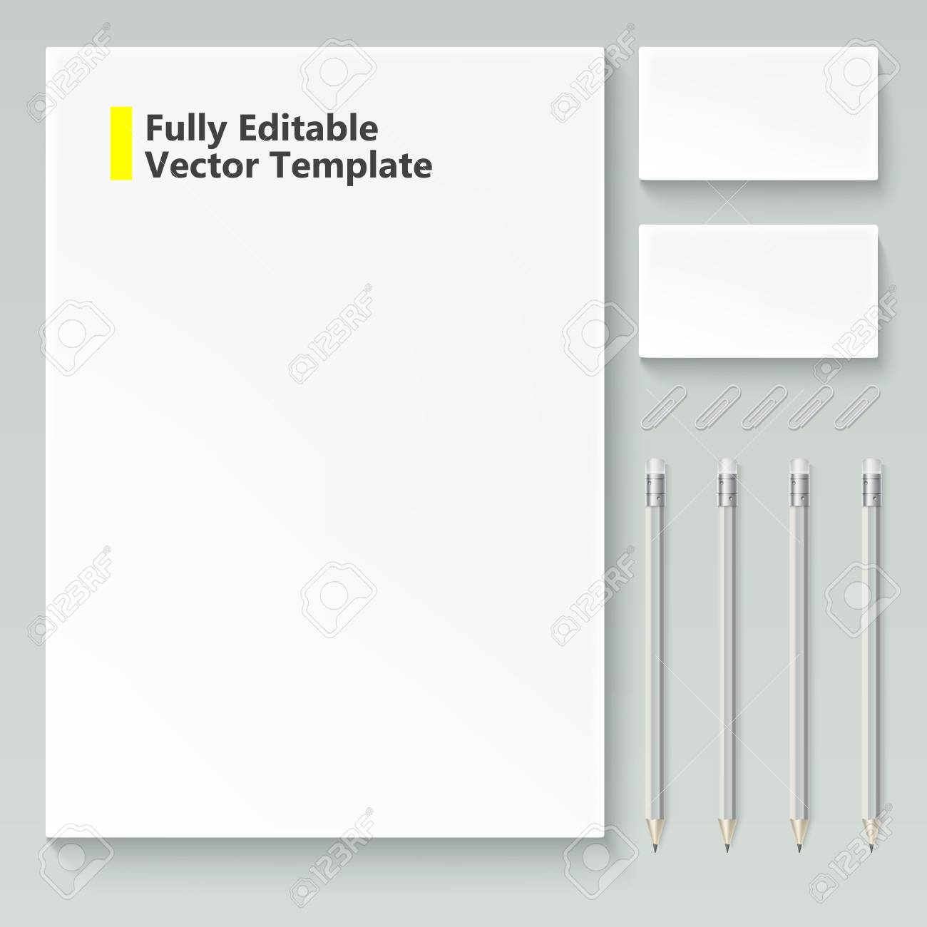 Vector Realistic Branding Mock Up, Isolated On White Background ...