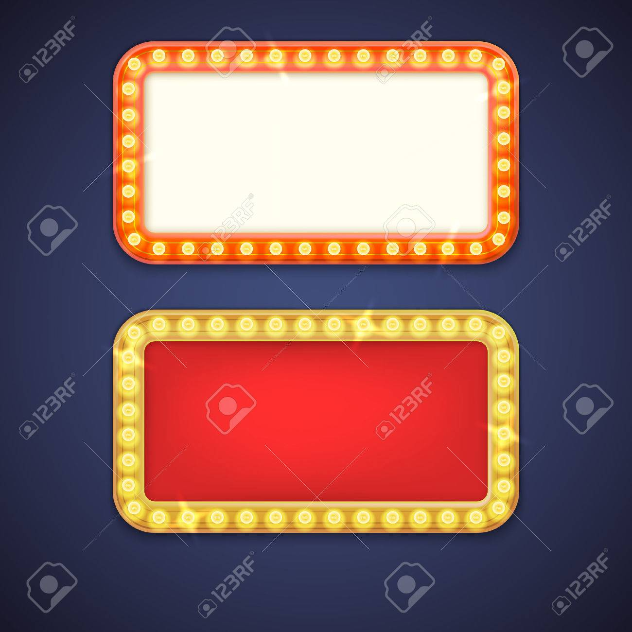 Frame And Electric Bulbs With Space For Text. Template For Design ...