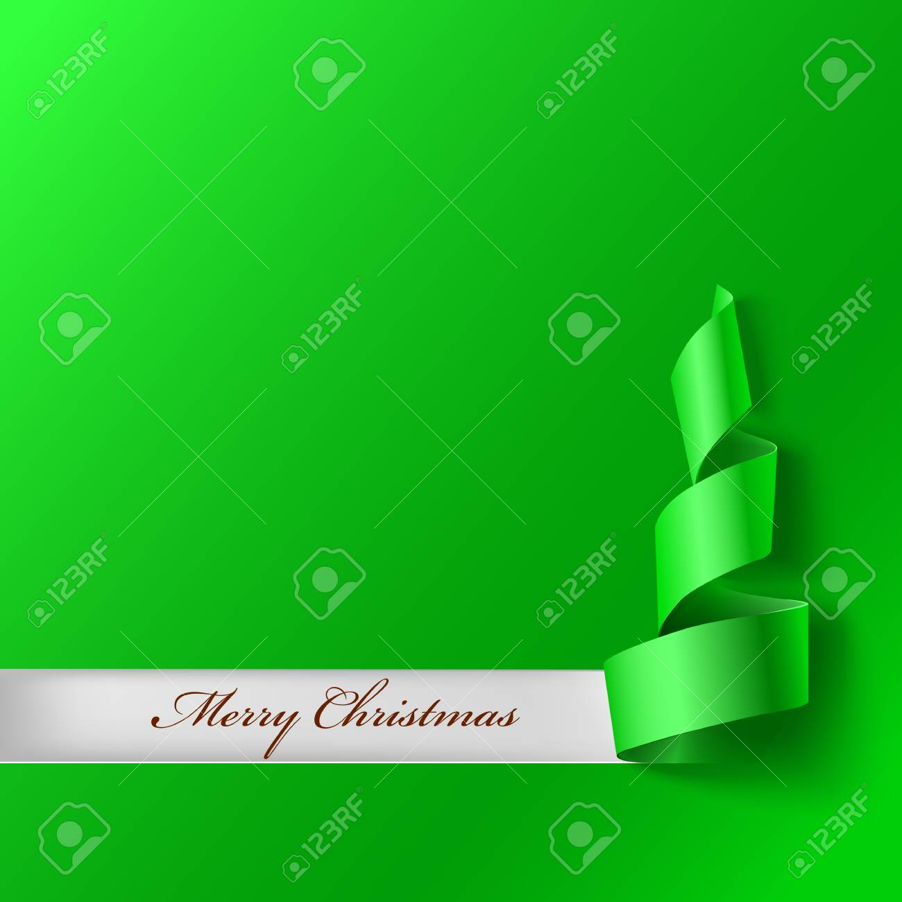 Christmas Tree From Ribbon. Green Curved Ribbon, On Green Background ...