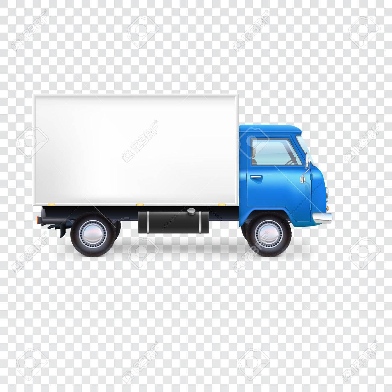 Furgone di consegna con la casella su sfondo trasparente illustrazione vettoriale per la presentazione