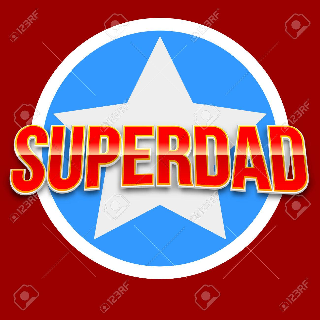 Super Dad Badge With Star On Blue Background Glossy Inscription