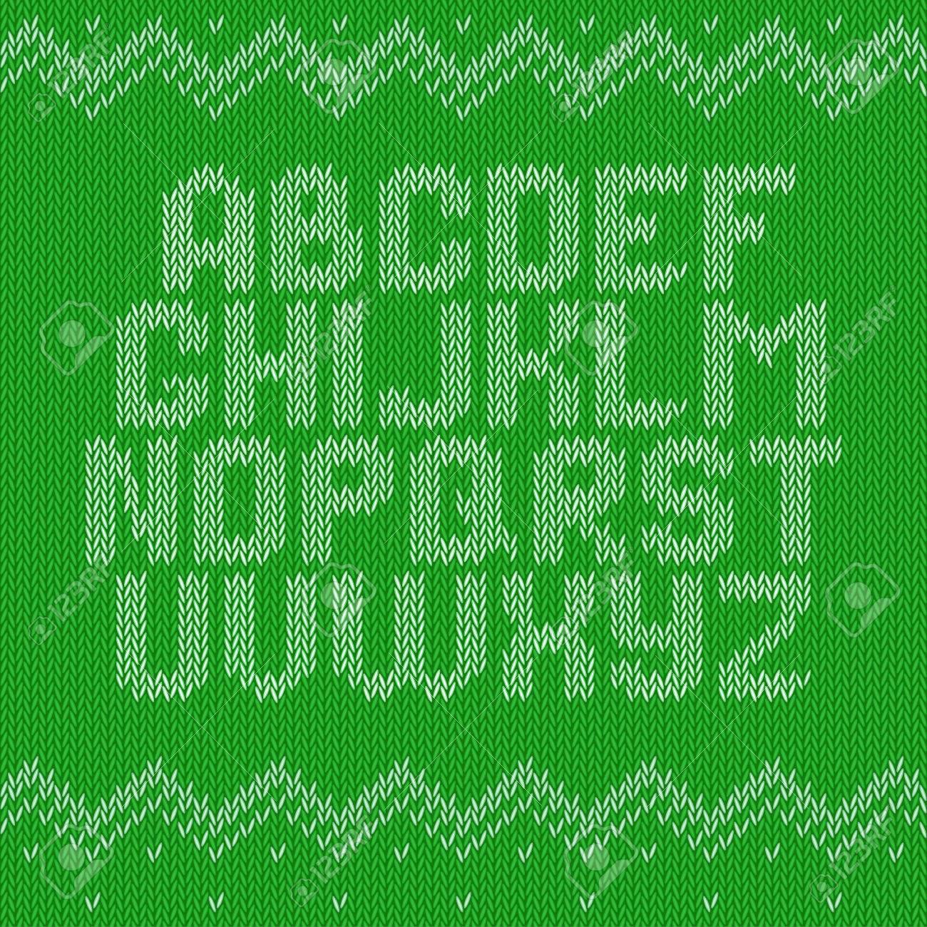 Knitted Alphabet On Green Background Christmas Crochet Font