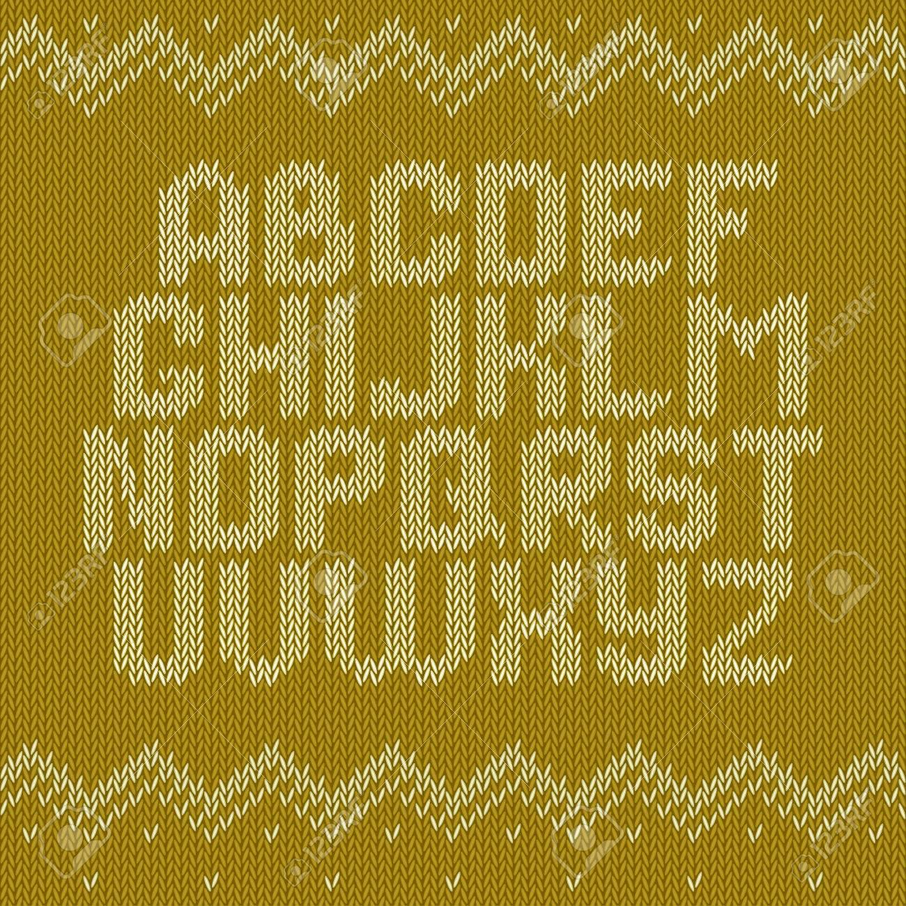 Alfabeto Punto En El Fondo Amarillo. La Fuente De Navidad En Crochet ...