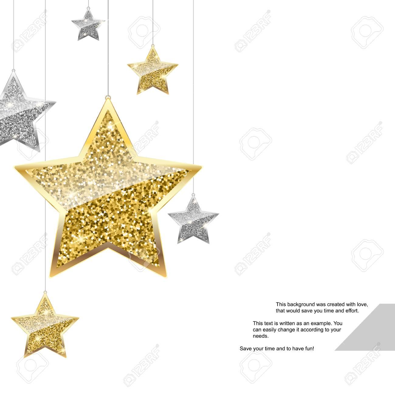 Glitter Hintergrund Mit Ilver Und Gold Hängenden Sternen. Frohe ...