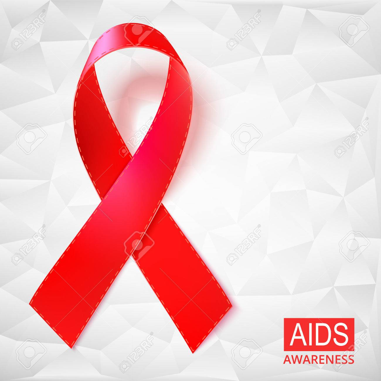 Realistic Red Ribbon Vector Illustration On White Background