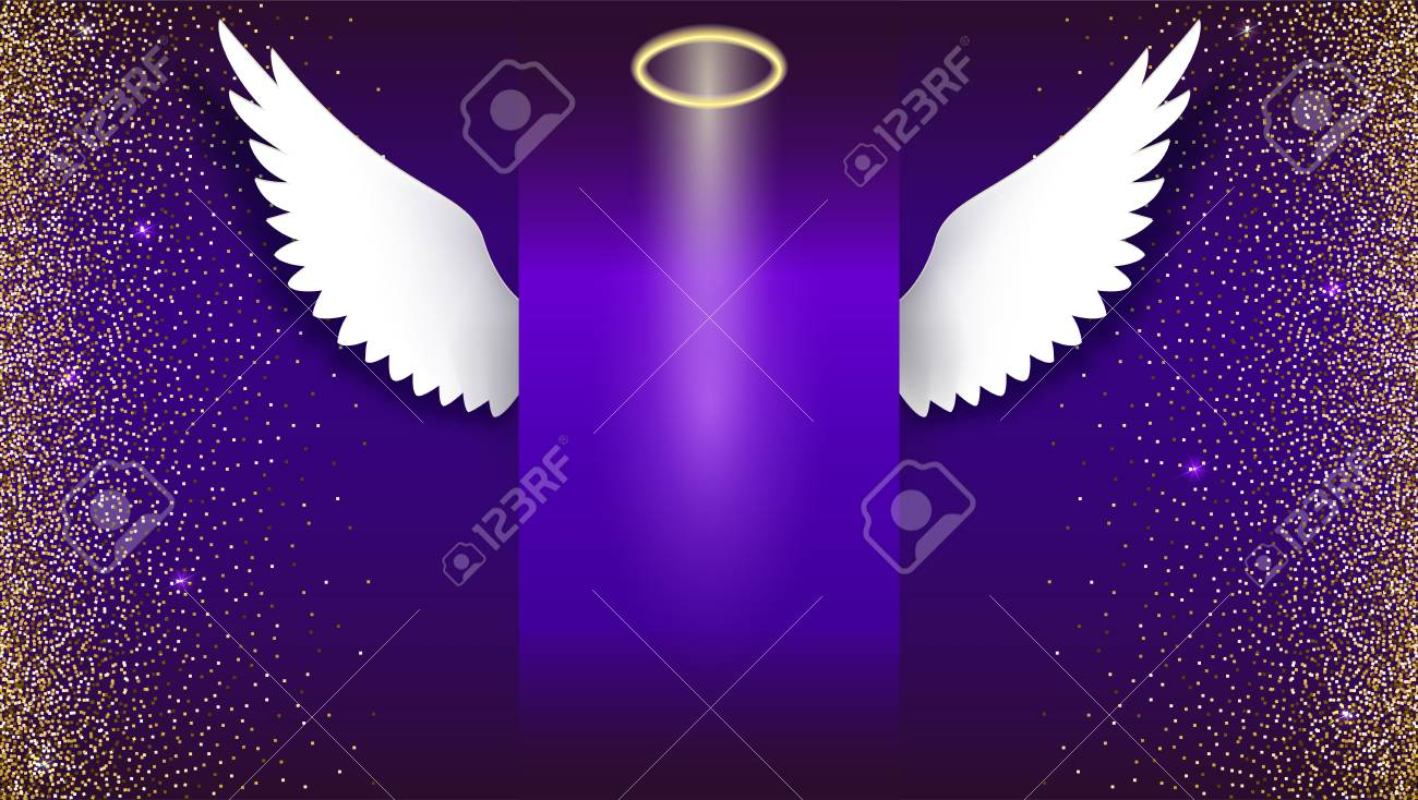 Angel wings with golden halo hovering on the dark background angel wings with golden halo hovering on the dark background wings and halo card jeuxipadfo Image collections
