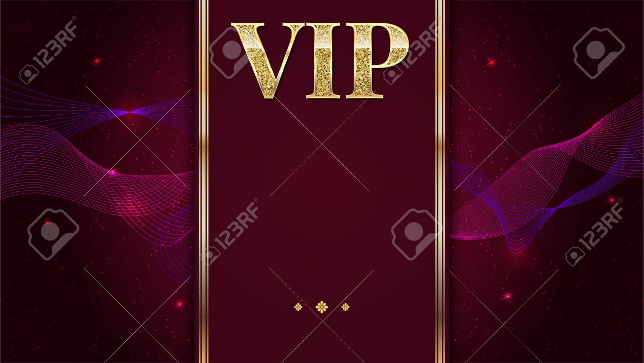 Vip Tarjeta De Invitación Premium Póster O Folleto Para La Fiesta Plantilla De Diseño Con Brillo Brillante Texto Fondo Decorativo Con Cinta Dorada