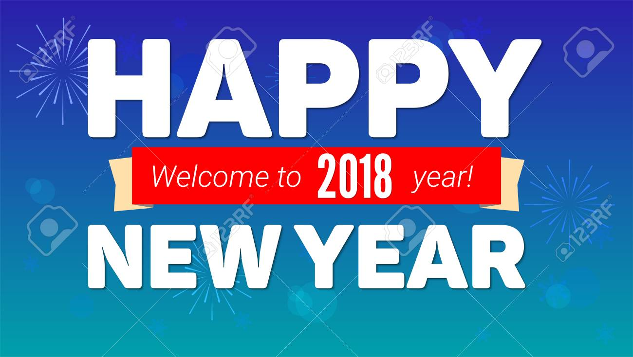 2018 happy new year greeting horizontal poster on night sky backdrop 2018 happy new year greeting horizontal poster on night sky backdrop fireworks snowflakes on m4hsunfo