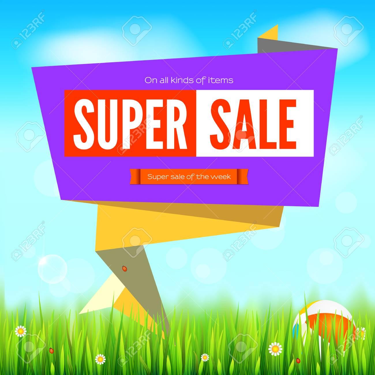 Super sale summer background cut paper art style for ad banner super sale summer background cut paper art style for ad banner grass daisy izmirmasajfo Images