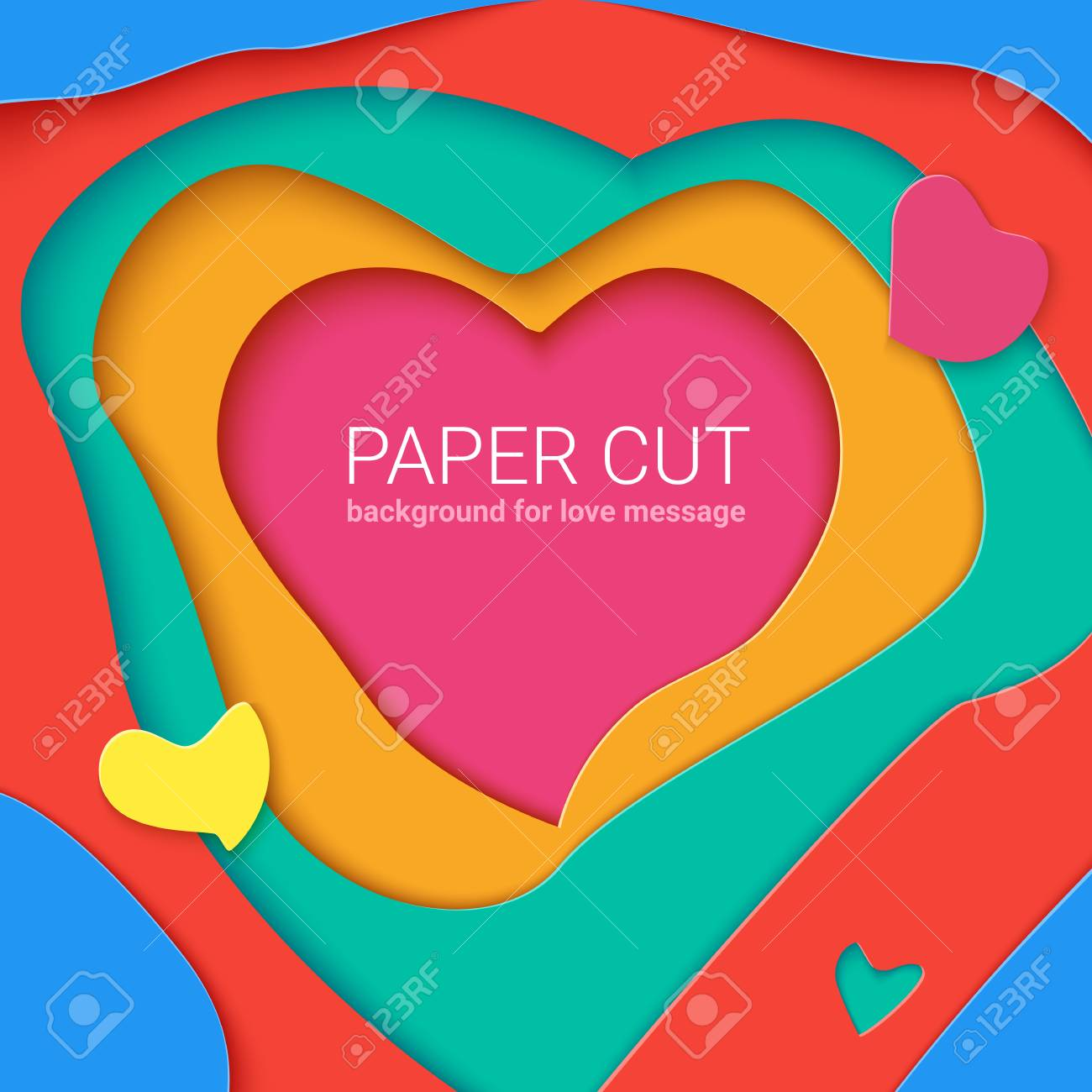 Templates With Paper Cut In Shapes Of Heart Modern Abstract