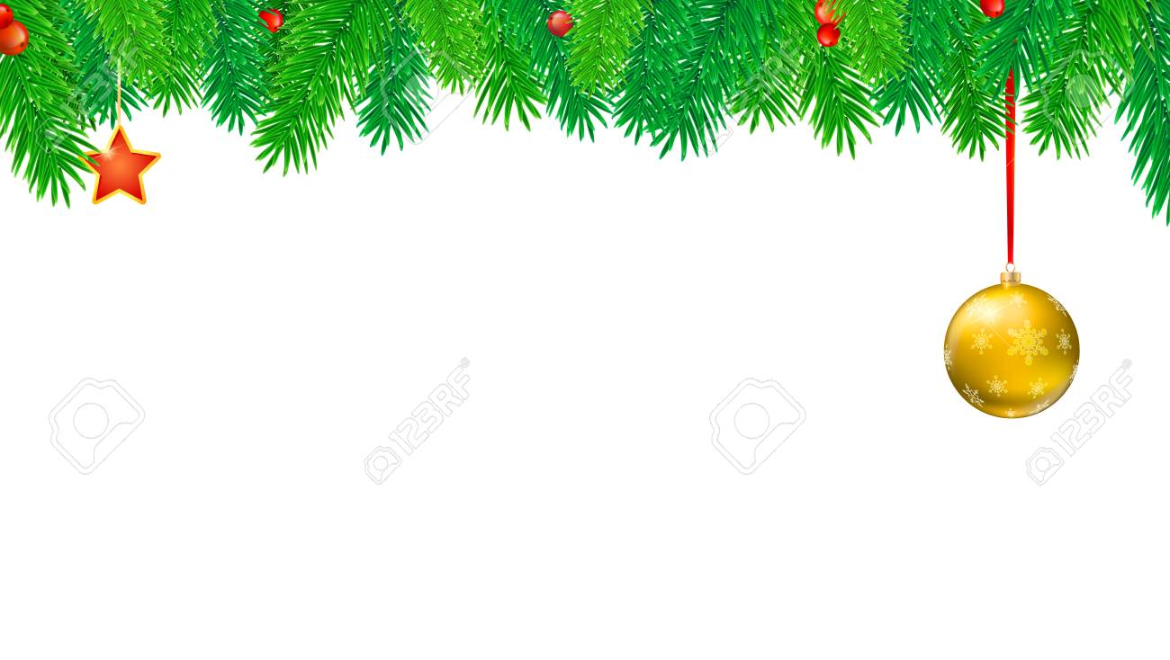 Christmas Banner.Christmas Banner With Fir Branches And Red Berries Festive Atmosphere