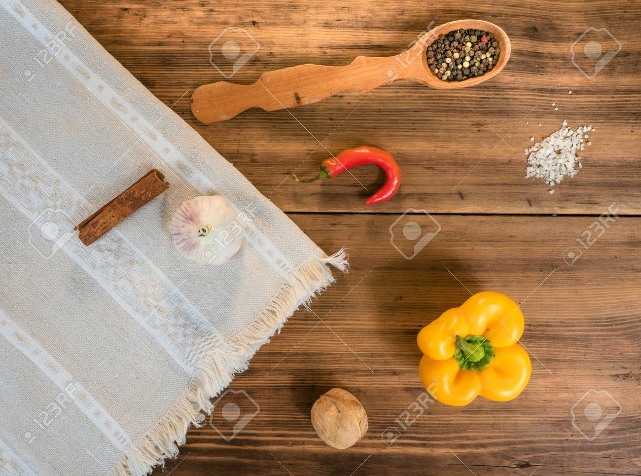 Still Life In Country Style On A Background Of Old Wood And Tablecloths.  Arrangement Of