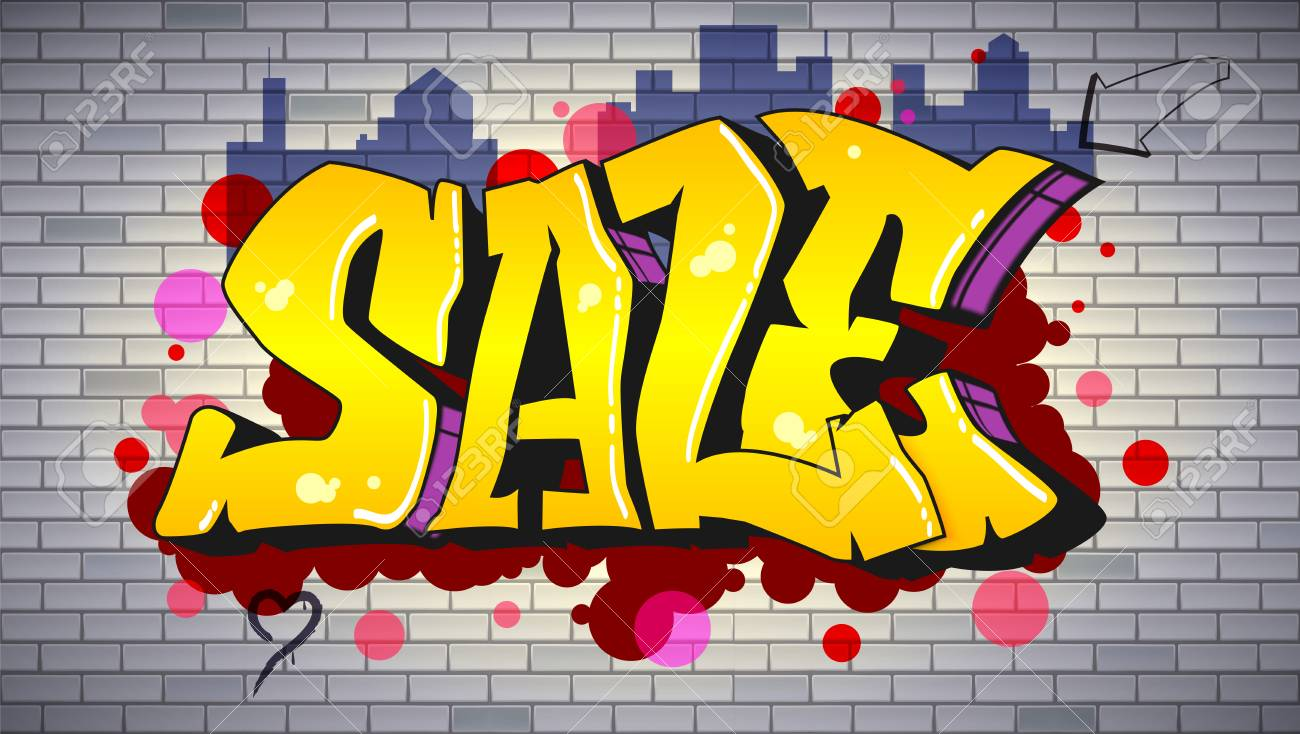 Illustration sale lettering in hip hop graffiti style urban ad horizontal poster street art on the brick wall advertising about discounts