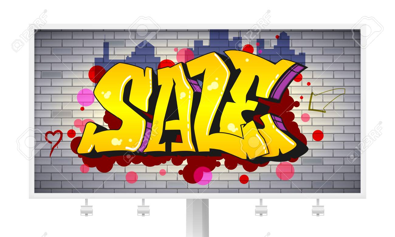 Sale, Lettering In Hip-hop, Graffiti Style. Urban Ad Horizontal ...