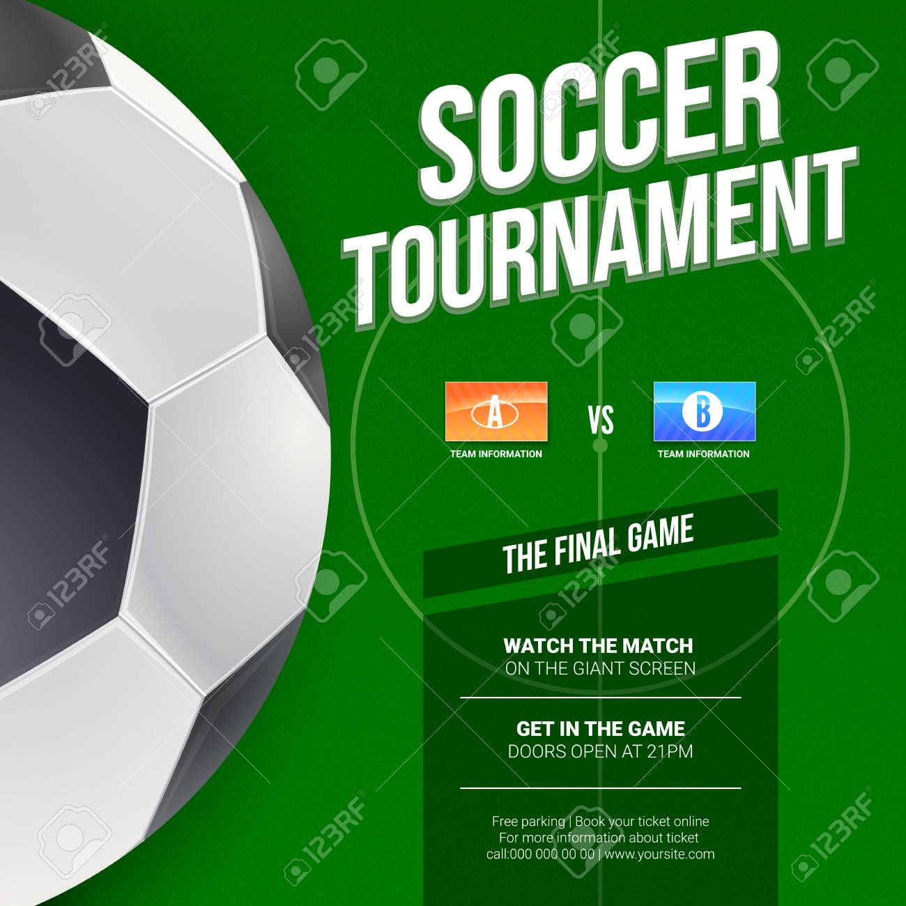 Soccer Or European Football Tournament Poster Mock Up Of Banner For Competition