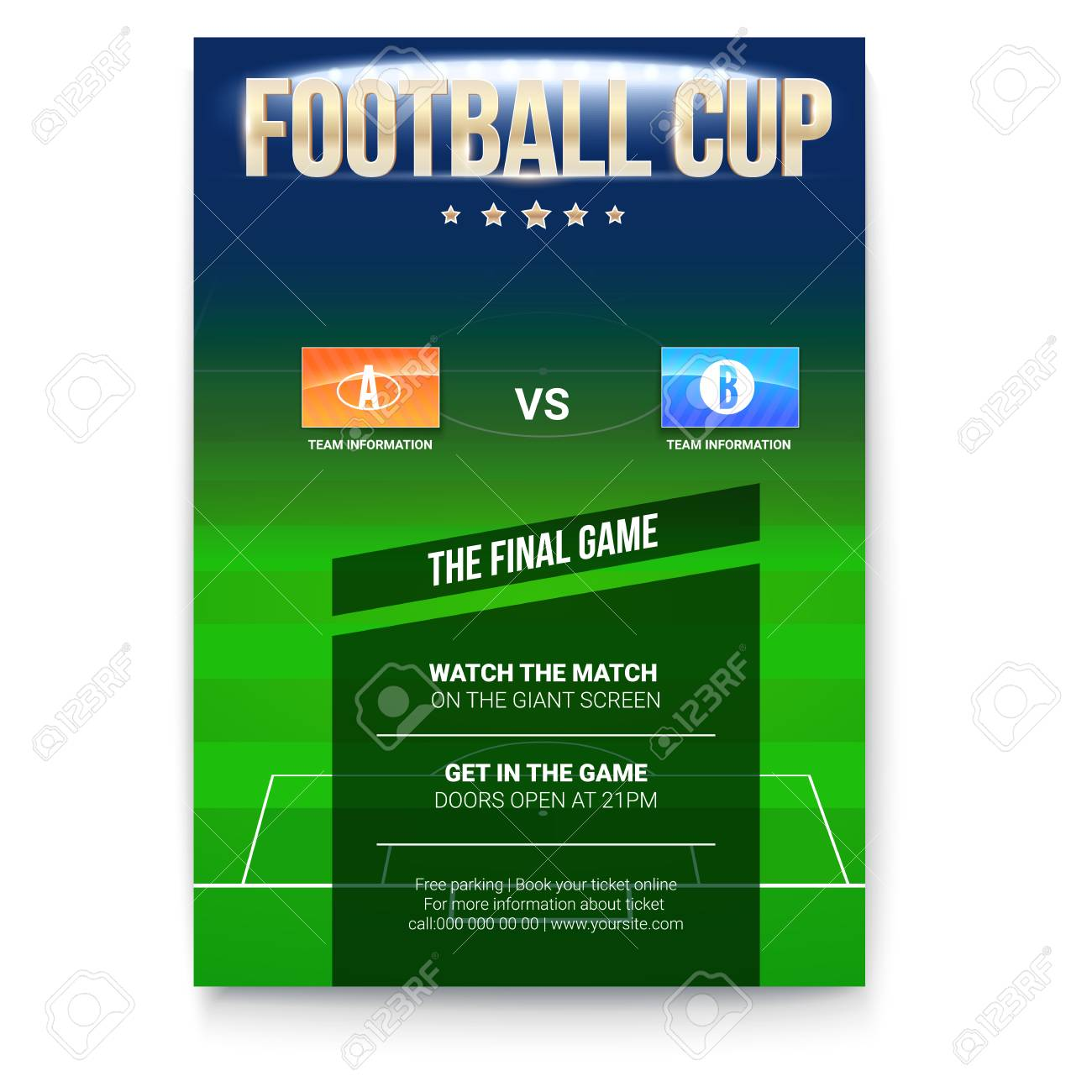 picture about Printable Football Field Template named Soccer or football poster with words structure. Template for activity..