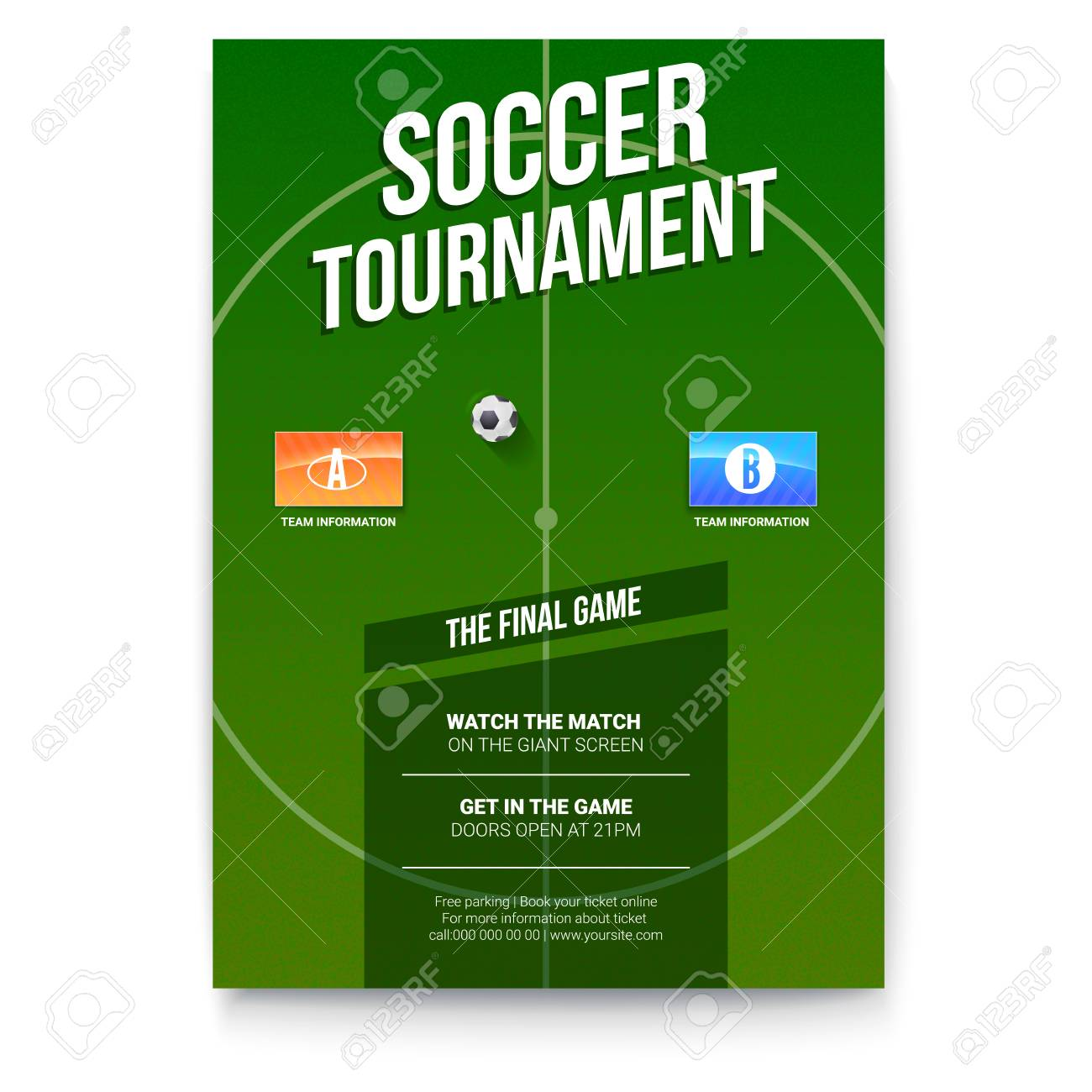 Soccer Football Poster With Text Design Template For Game