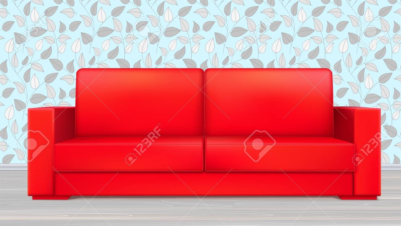 Red modern luxury sofa for living room, reception or lounge...