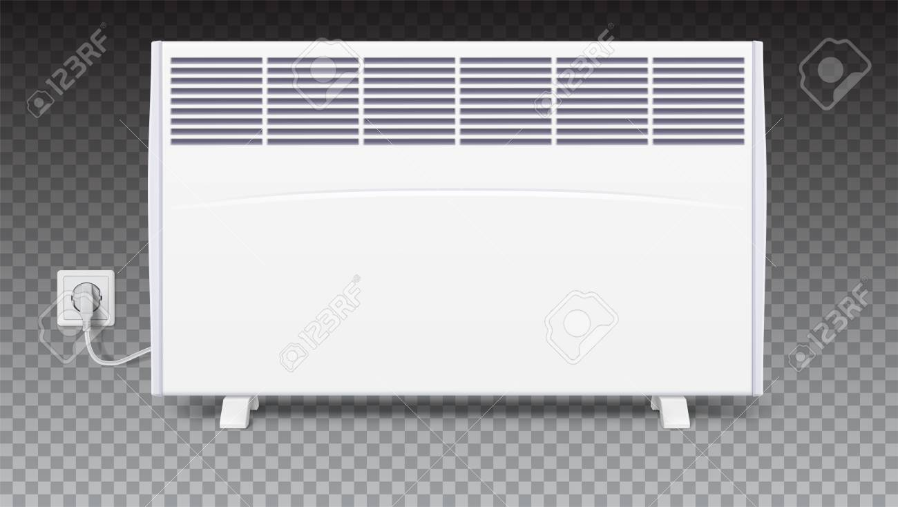 Domestic Electric Heater With Plug And Cord Icon Of Heating Home Convector 3d Illustration