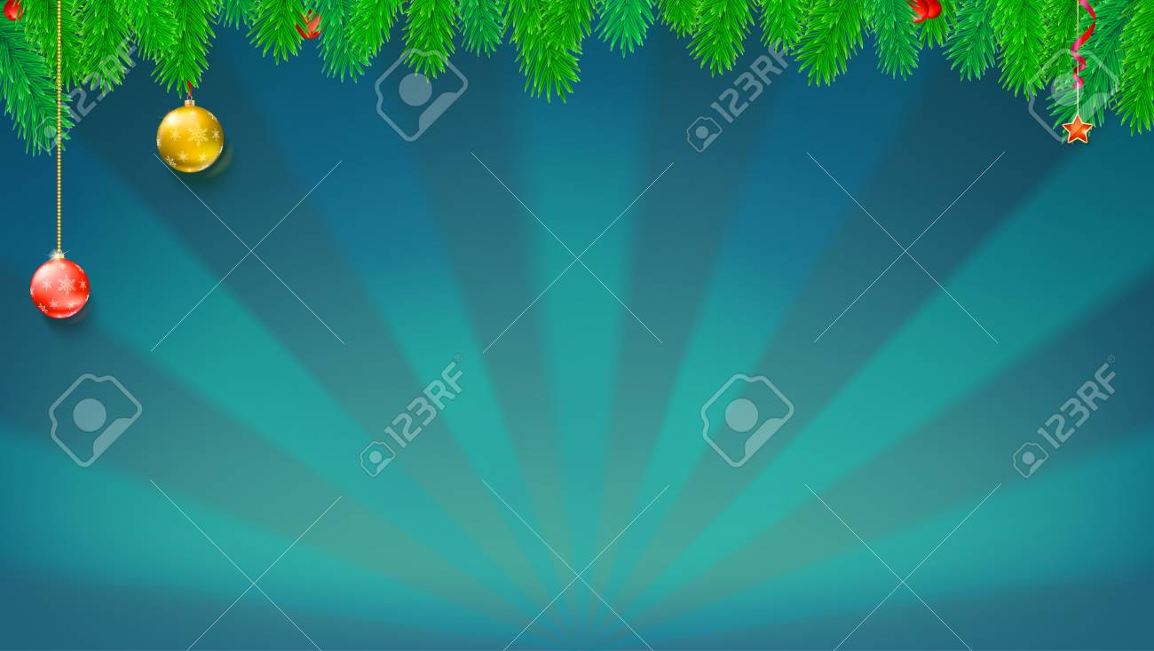 christmas and new year banner with green fir branches christmas balls and toys on backdrop