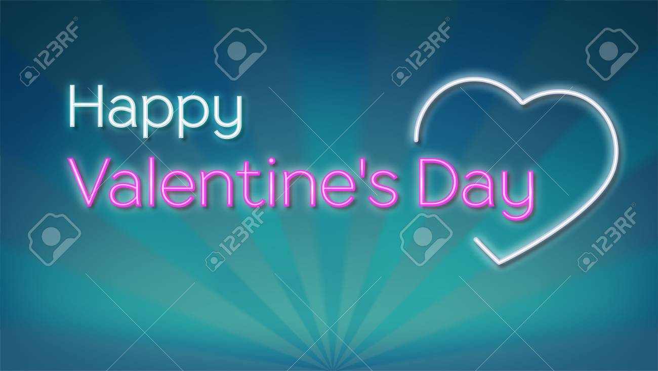 Happy Valentines S Day Neon Text On Background With Rays Concept