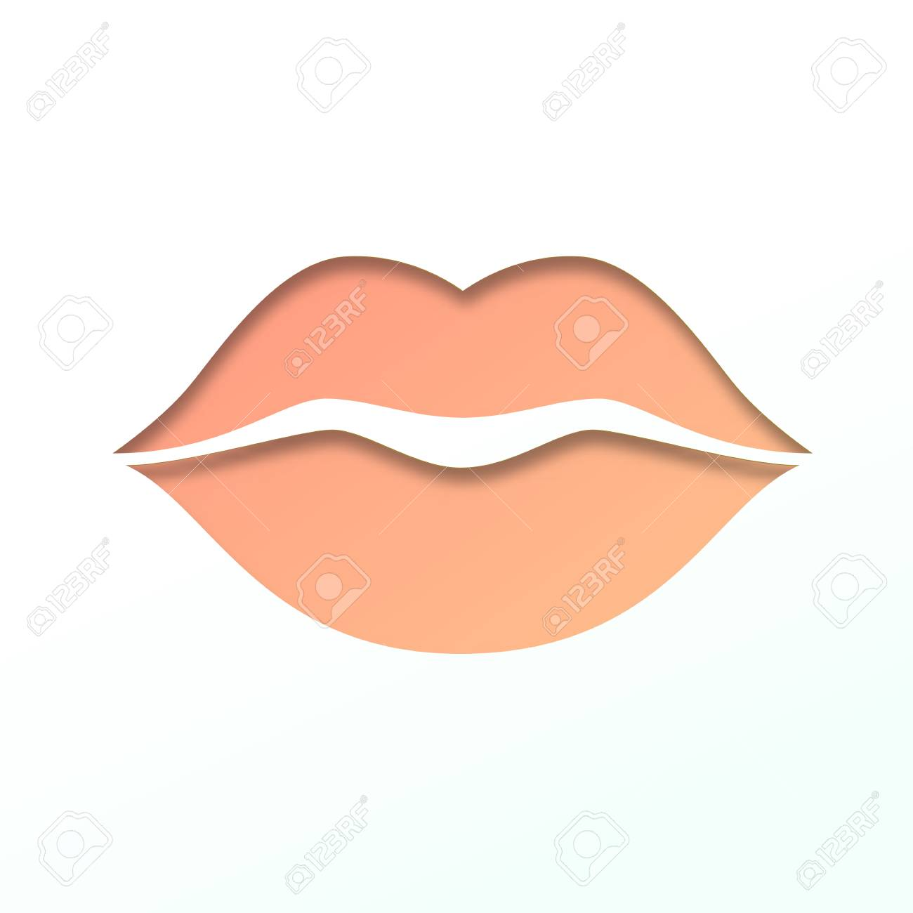 contour of lips cut from paper outline icon of mouth vector