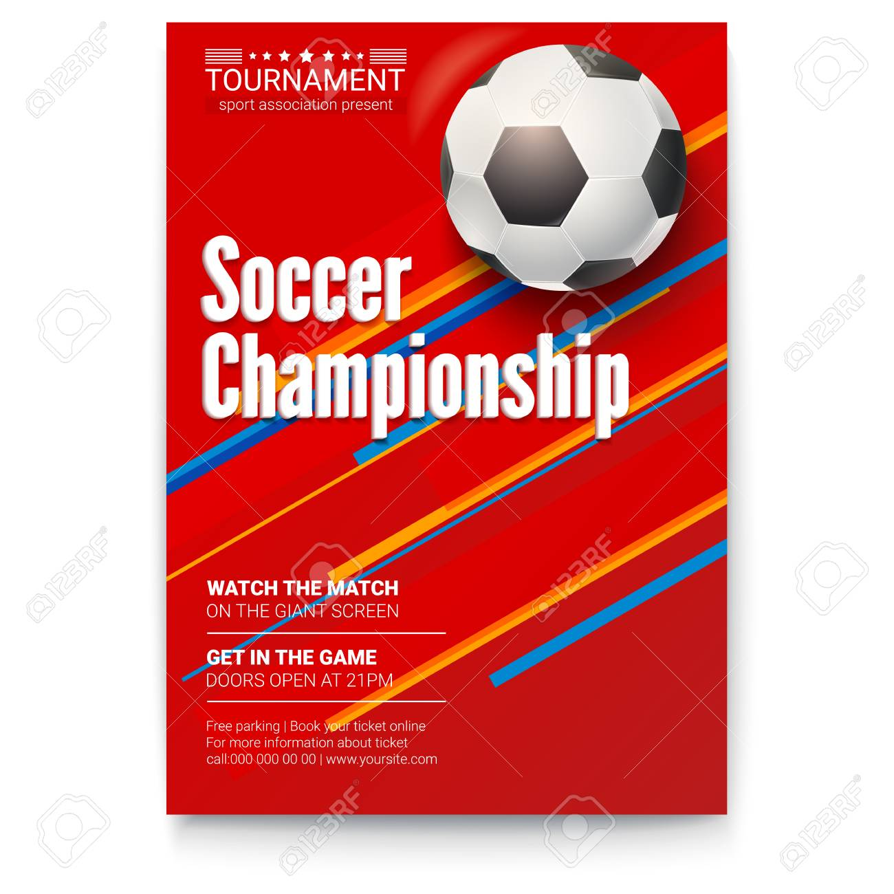 Soccer Ball On Graphics Background Poster Of Tournament Football Royalty Free Cliparts Vectors And Stock Illustration Image 102091433