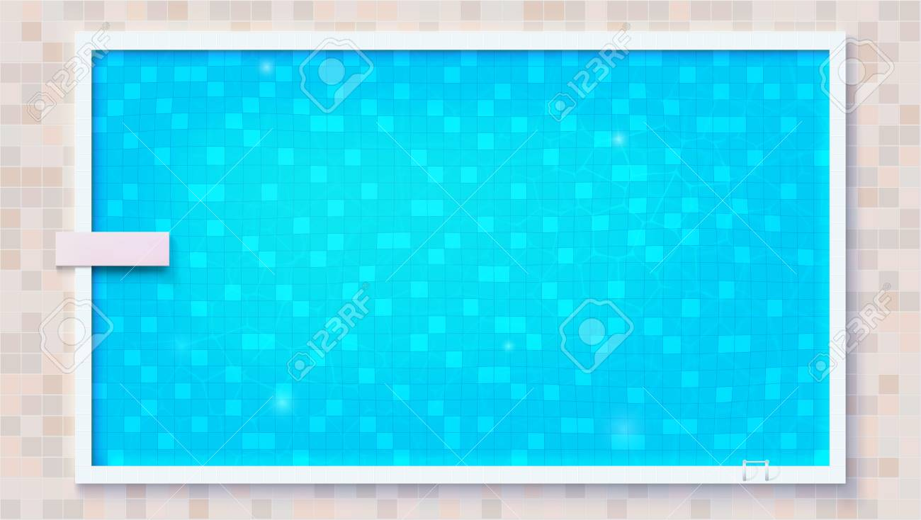 Blue ripped water in swimming pool and diving board, top view...