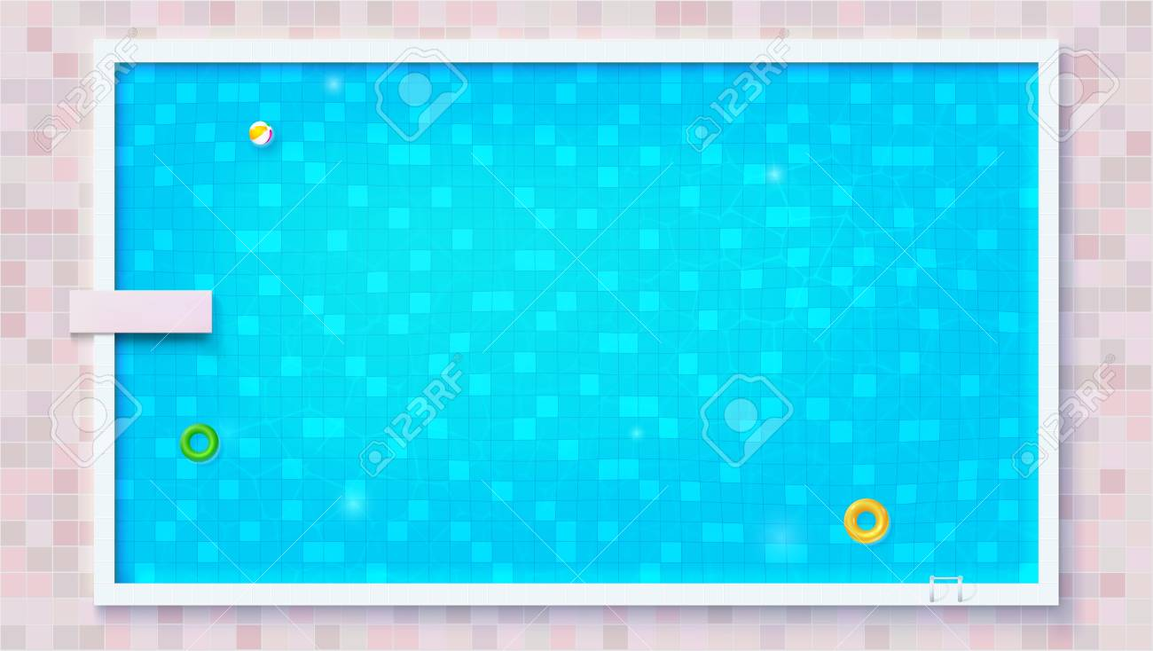 Blue ripped water in swimming pool, top view. Big outdoor pool with inflatable water toys, flat lay view. Air mattress, beach ball, rubber circle. Vector template for events, posters, cover. - 114826110