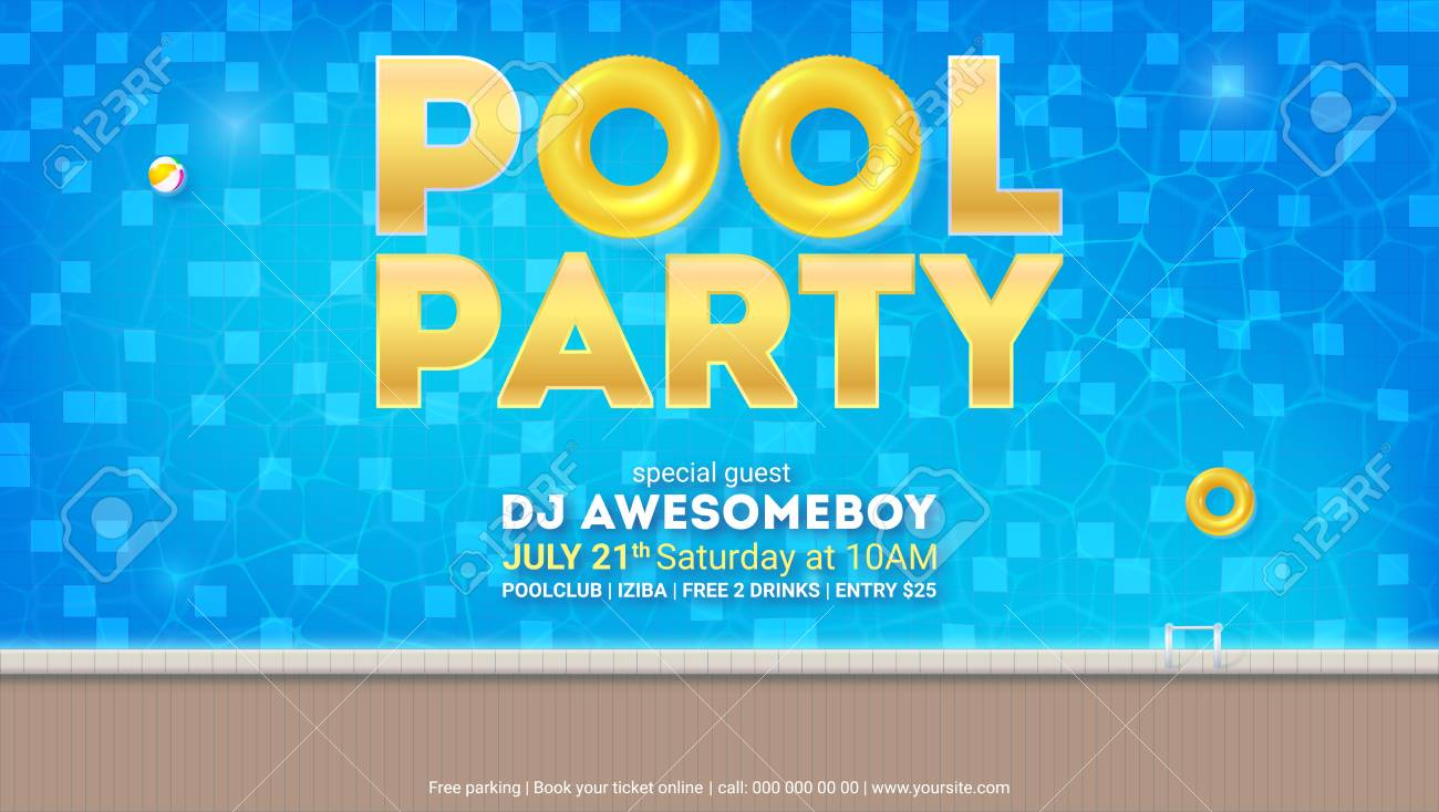Summer party in pool. Invitation for event with design of text...