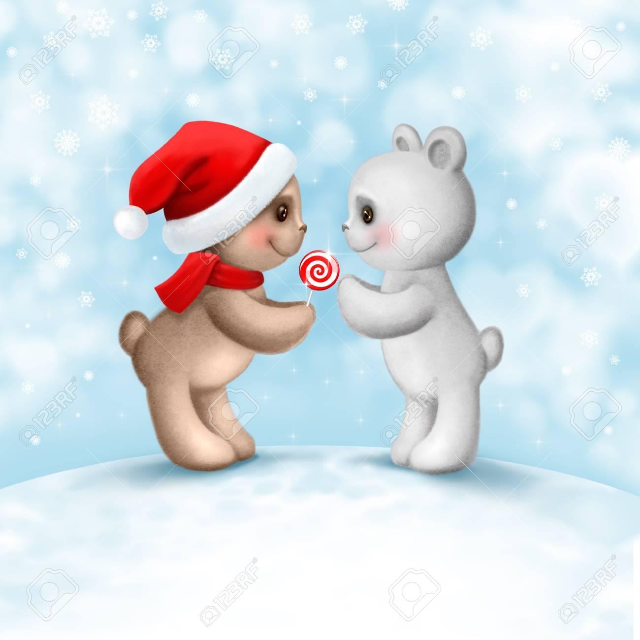 Carte De Noël Avec Deux Ours En Peluche Dans Lamour