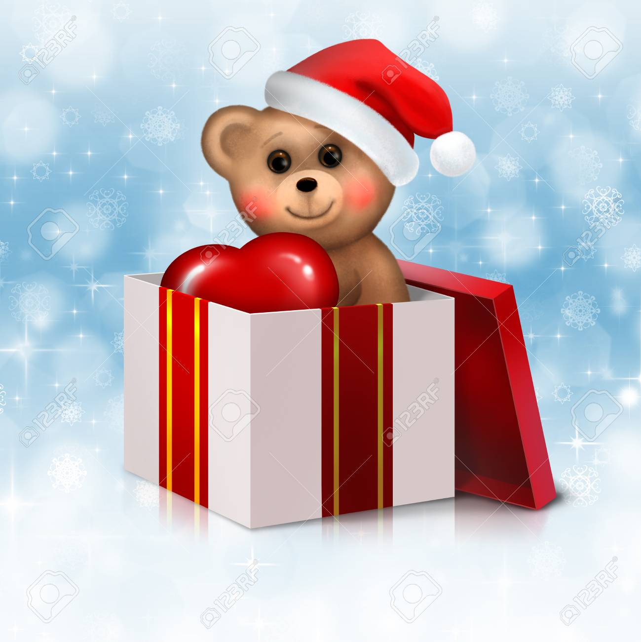 Christmas background with teddy bear in the gift box Stock Photo - 22503319