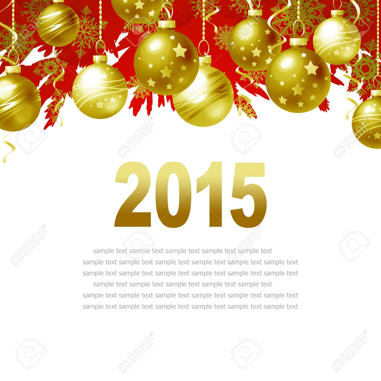 New Year Greeting Card With Christmas Balls And Place For Text Stock