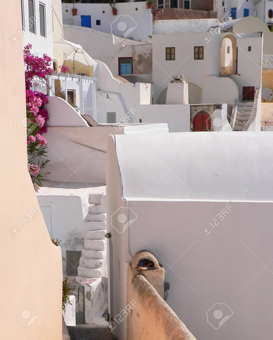 Narrow Stairs And Pathways In Steep Village In Greece Stock Photo