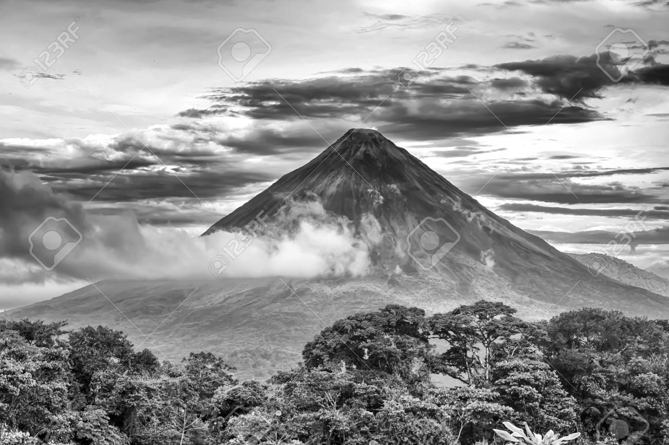Black and white arenal volcano stock photo 104921018