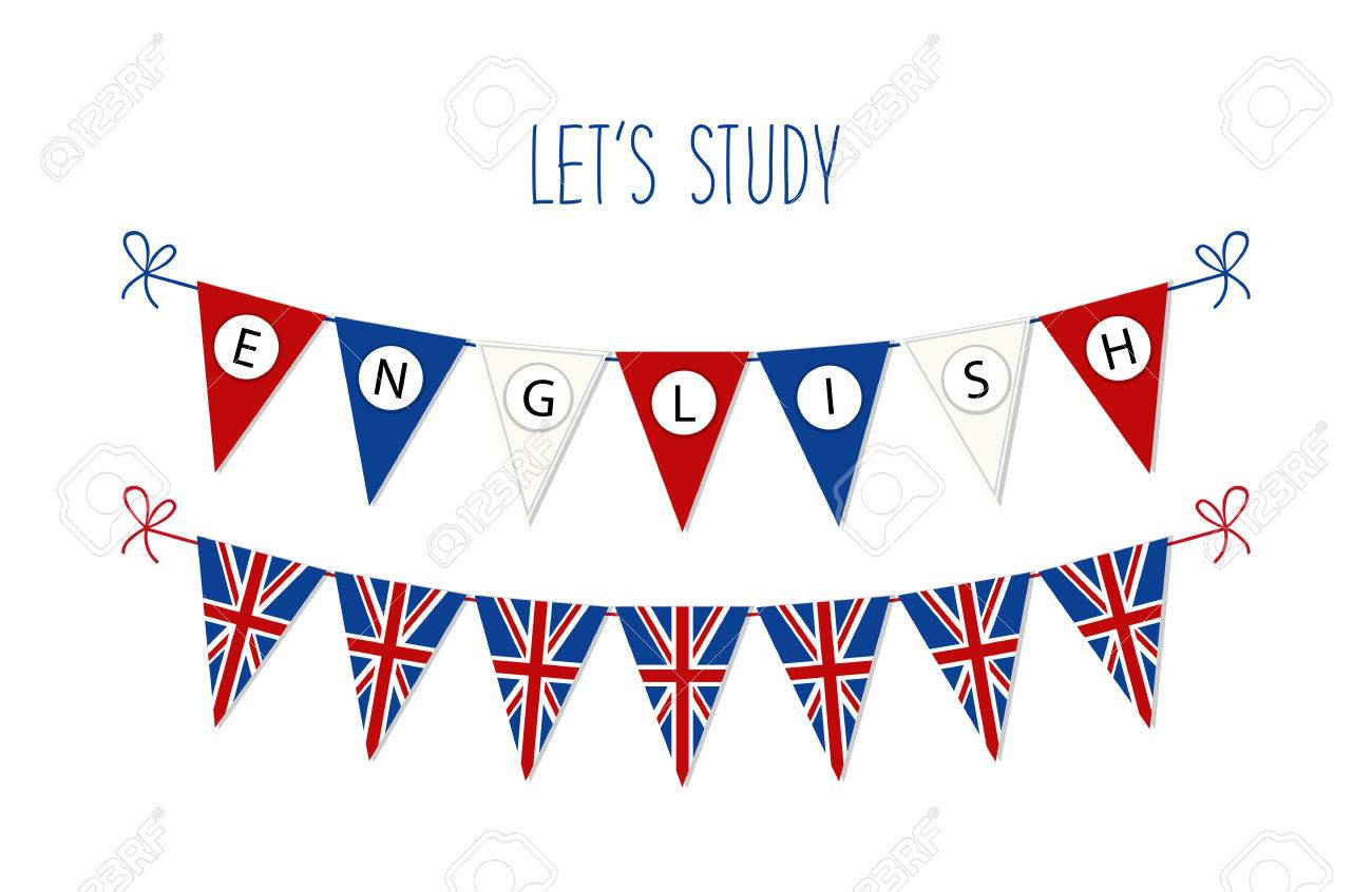 Cute bunting flags for English Language Day. - 75674427